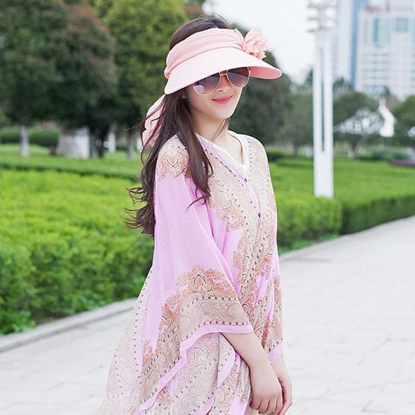 High-quality Women Ladies Summer Outdoor Wave Anti-ultraviolet Beach Sunscreen Sun Hat Flower Folding Cap - NewChic