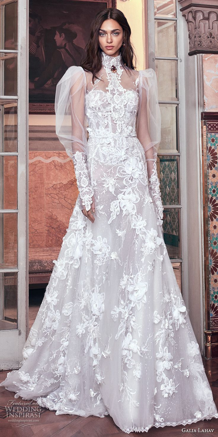 galia lahav spring 2018 bridal puffed long sleeves high neck sweetheart neckline full embellishment vintage a  line wedding dress sheer back chapel train (laura and top) mv -- Galia Lahav Spring 2018 Wedding Dresses