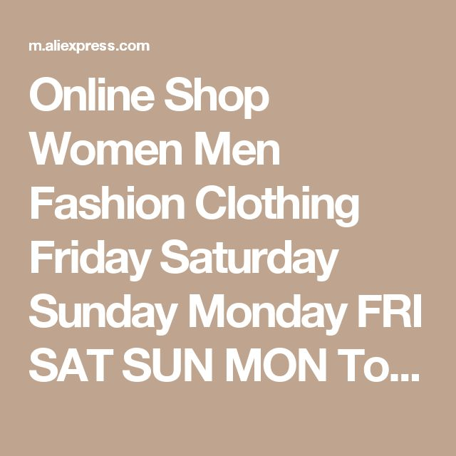 Online Shop Women Men Fashion Clothing Friday Saturday Sunday Monday FRI SAT SUN MON  Tops Crewneck Sweatshirts Sweats Jumper Outfits | Aliexpress Mobile