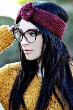 Cute burgundy bow sweater band & cat eye glasses.