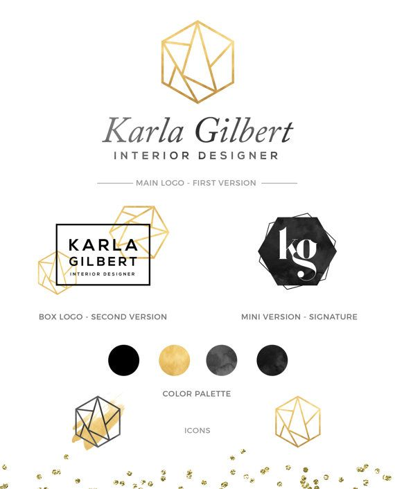 KIT de LOGO, Logo or marque paquet, hexagone Logo, Logo Design, Fashion Logo…