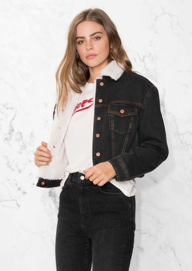 & Other Stories image 2 of Faux Fur Collar Denim Jacket in Black