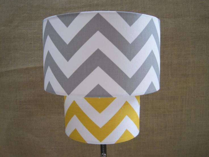 Lamp Shade Chevron Zig Zag Drum Lampshade 2 Tier in Mustard Yellow and Gray Grey Etsy.com