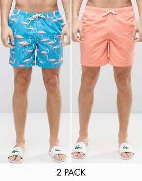 ASOS Mid Length Swim Shorts 2 Pack In Pink And Flamingo Print.