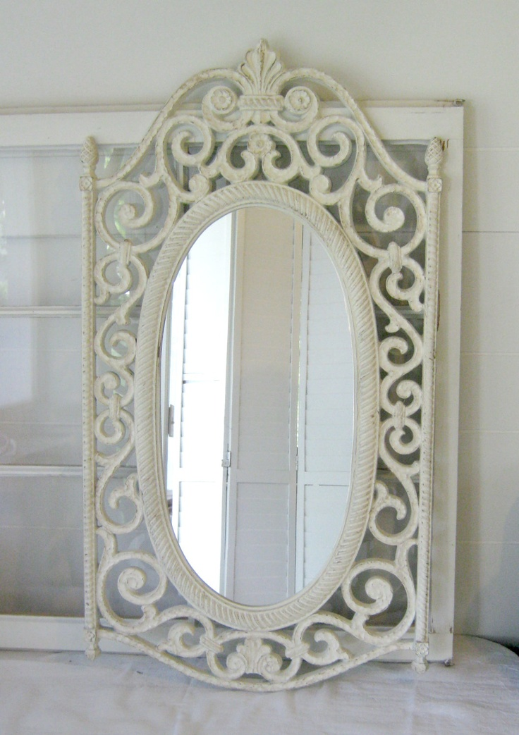 shabby chic antique white ornate wall mirror ornate wood frame home decor paris apt chic. Black Bedroom Furniture Sets. Home Design Ideas