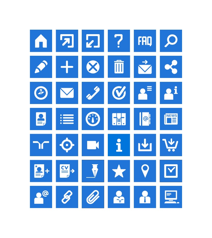 Mobile icons in flat blue & white
