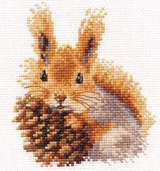 Squirrel with pinecone X-stitch