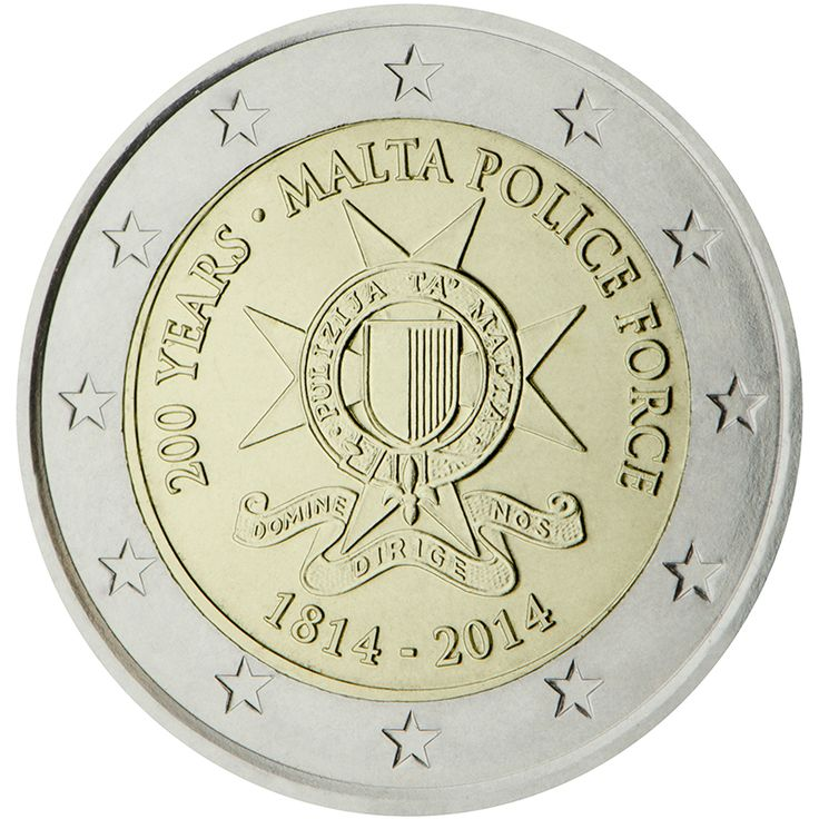 2014 Malta commemorative €2 coin: 200 years of Malta Police Force - set up by means of proclamation XXII of 1814. Thus the Malta Police Force is one of the oldest in Europe.  Mintage: 300,000