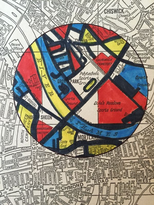 Mondrian Maps Circle doodles on an old 70's London A-Z. One of many everyday doodle experiments featured on my blog, 'A roll of tape and a biro'.