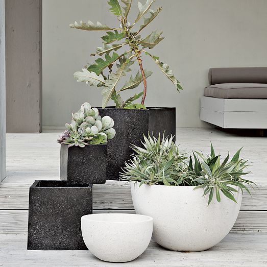 "Iris Speckled Planters - Black | west elm Small: 9.1""sq. x 8.3""h. Medium: 11.4""sq. x 10.6""h. Large: 14.6""sq. x 13""h. $59"