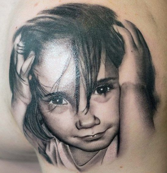 "Tattoo Artist - John Maxx - Child tattoo would love to have my grand babies faces on me ""}"