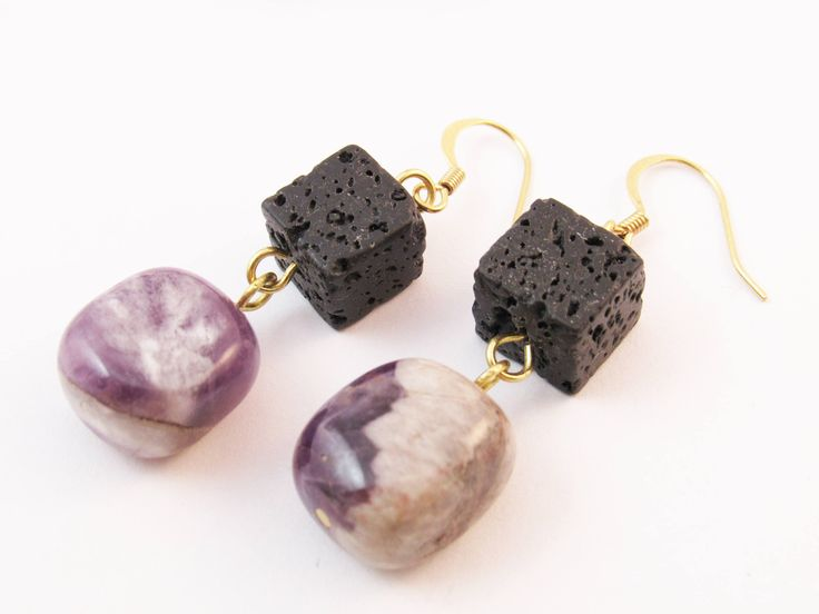 Amethyst Earrings, Gold Plated Jewelry, Gemstone Jewellery, Purple Natural Gemstone, Statement Earring, Black Lava Earring, Gift for her by RubiesAndBees on Etsy