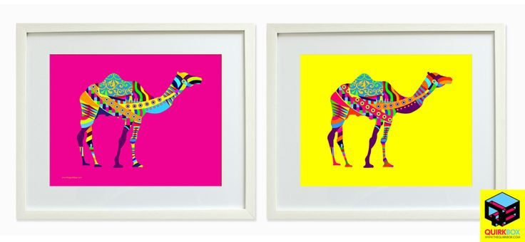 Quirkylicious Animal Farm Art Frames.  Camel Animal Farm Art Frame in Pink and Yellow. Give your house some Indian pop with our Art Frames Shop from www.thequirkbox.com