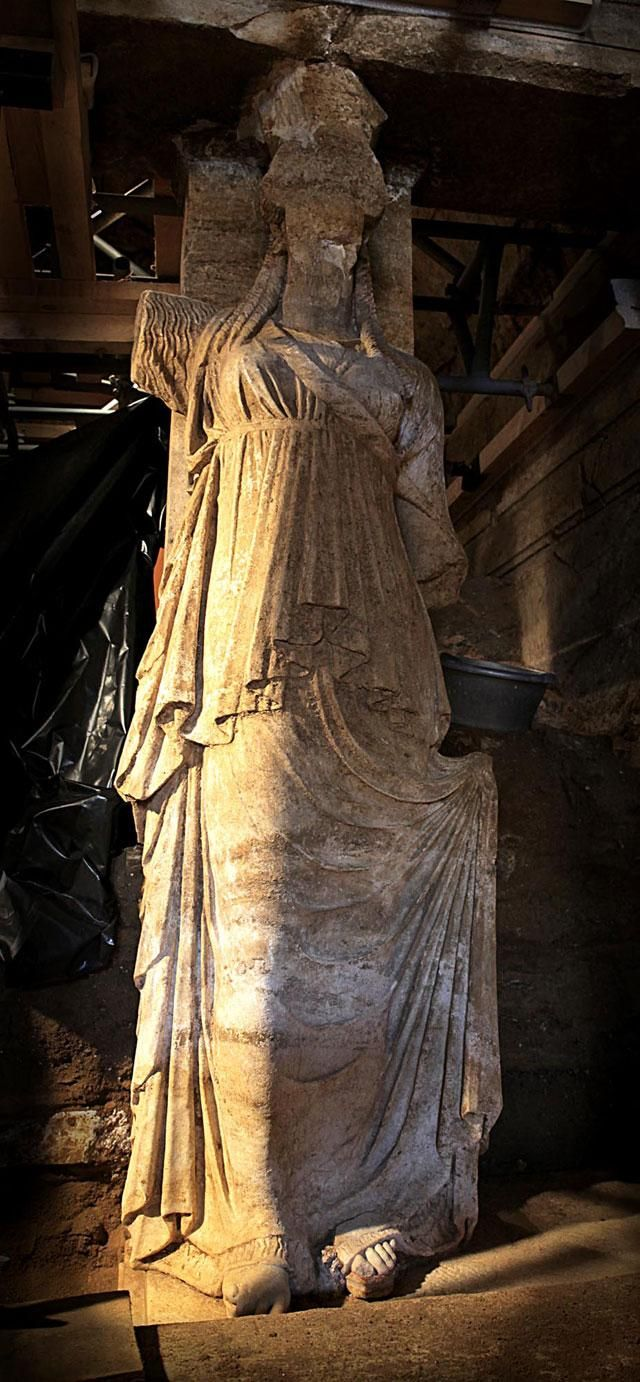 The East Caryatid from the recently excavated tomb at Amphipolis, Greece.
