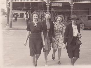 Molly, Vera and friends out on the town in Cootamundra in 1940. What a foursome. Credit: Joy Cameron