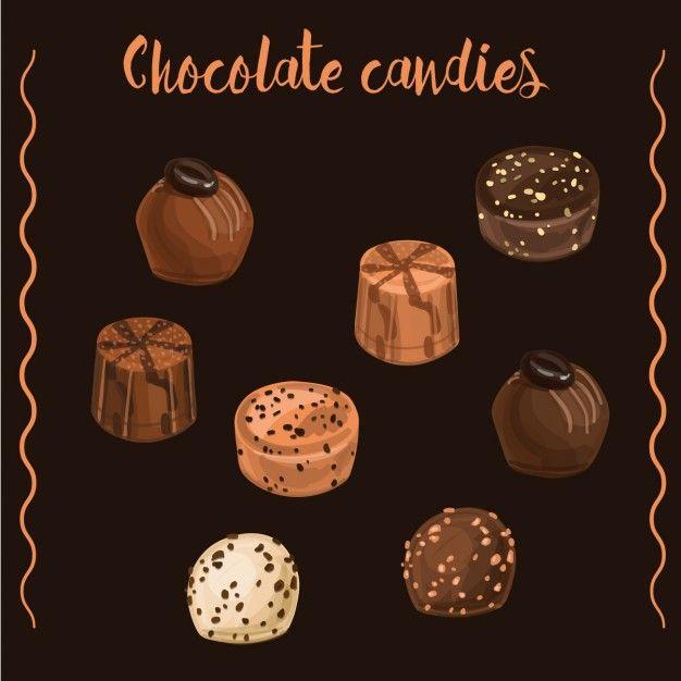 Dulces de chocolate Vector Gratis