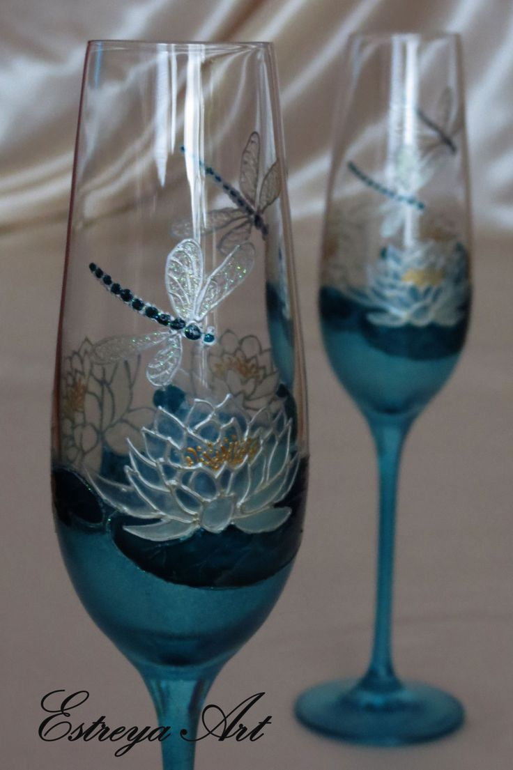 Hand painted toasting flutes, Turquoise Wedding, Dragonfly, Water Lily, Lotus flower, Set of 2