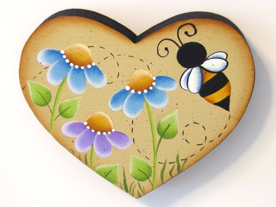 Flowers and Bee on Heart Shaped Wood, Handpainted Wall Art