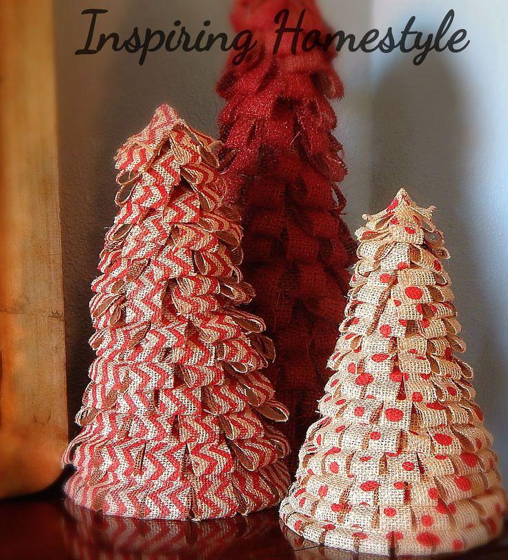 Make Burlap Christmas Trees.  Beautiful and simple!