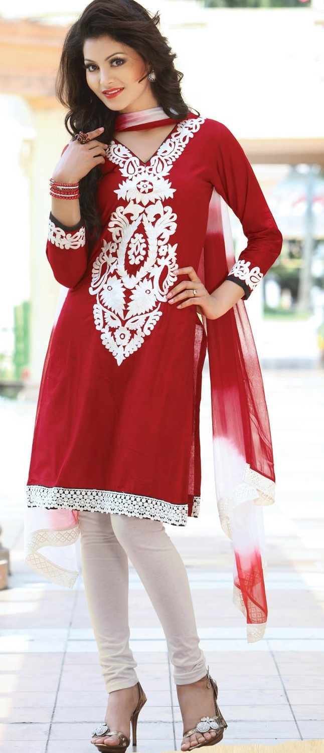#Red Cotton #Churidar Kameez with Dupatta @ $48.64