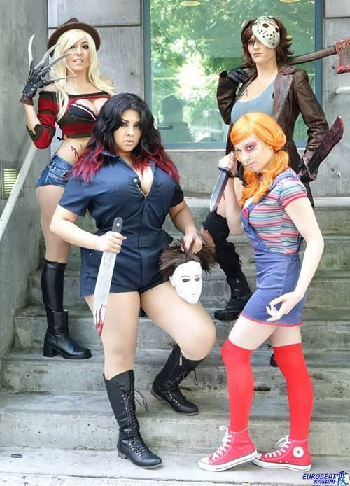 The Icons of Horror (Fem version) Cosplayers: Jessica Nigri as Freddy Kruger Abby Dark-Star as Jason Ivy Doomkitty as Michael Myers JoJo PandaFace as Chucky Photographed by Eurobeat Kasumi Photography Source: Geek Girls via Facebook