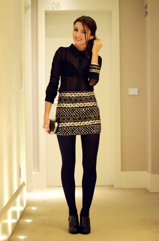 I love the skirt and tights with those shoes.