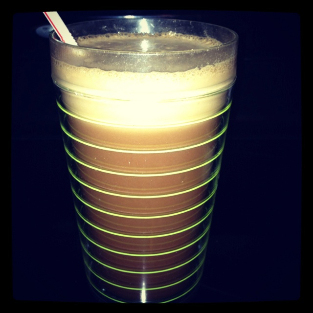 My coffee protein shake. This is the best recipe so far with the lowest calories: 8-10 oz cold brewed coffee, 1 scoop vanilla or chocolate protein powder, 1 tbsp unsweetened cocoa powder, 1/4 cup light vanilla soy milk, a natural sweetener like Pure Via, and a little ice. Then blend in a blender until smooth and frothy. 140 calories for breakfast