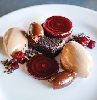 Dark chocolate cream, candied beetroot, salted chocolate cake