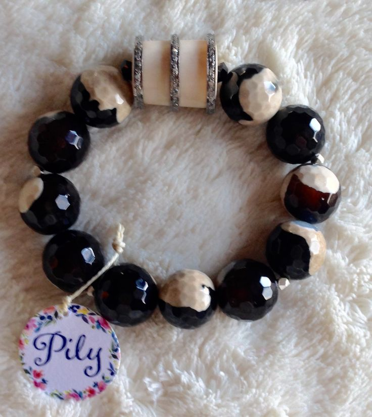 Diamond antler agate beads stretch bracelet by Pily