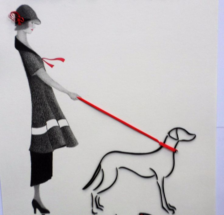 One of my first pictures using quilled outlines.  When I added the quillled words 'Love Me, Love My Dog', it became even more popular.