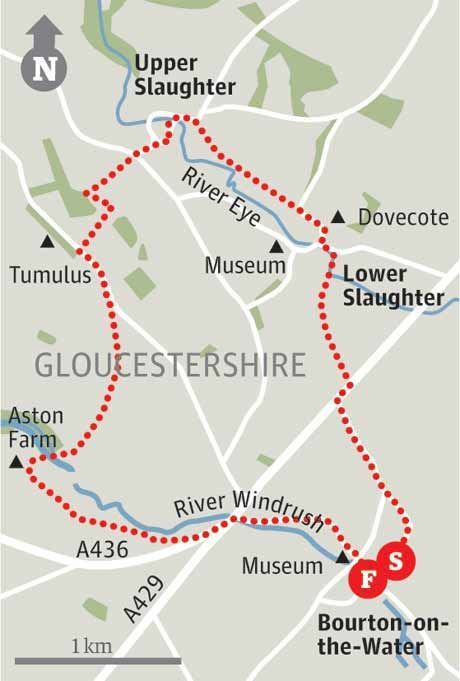 COTSWOLDS - Map of Bourton-on-the-Water, Gloucestershire
