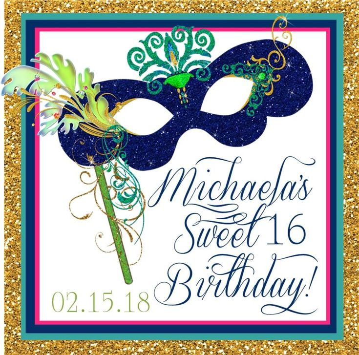 Sweet 16 Masquerade Ball Stickers Or Favor Tags