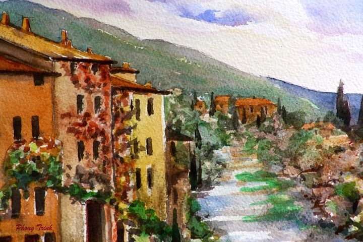 Lagrasse (10) - Phong Trinh Watercolor. More Fine Art Print Available at http://www.artpal.com/phongtrinh/