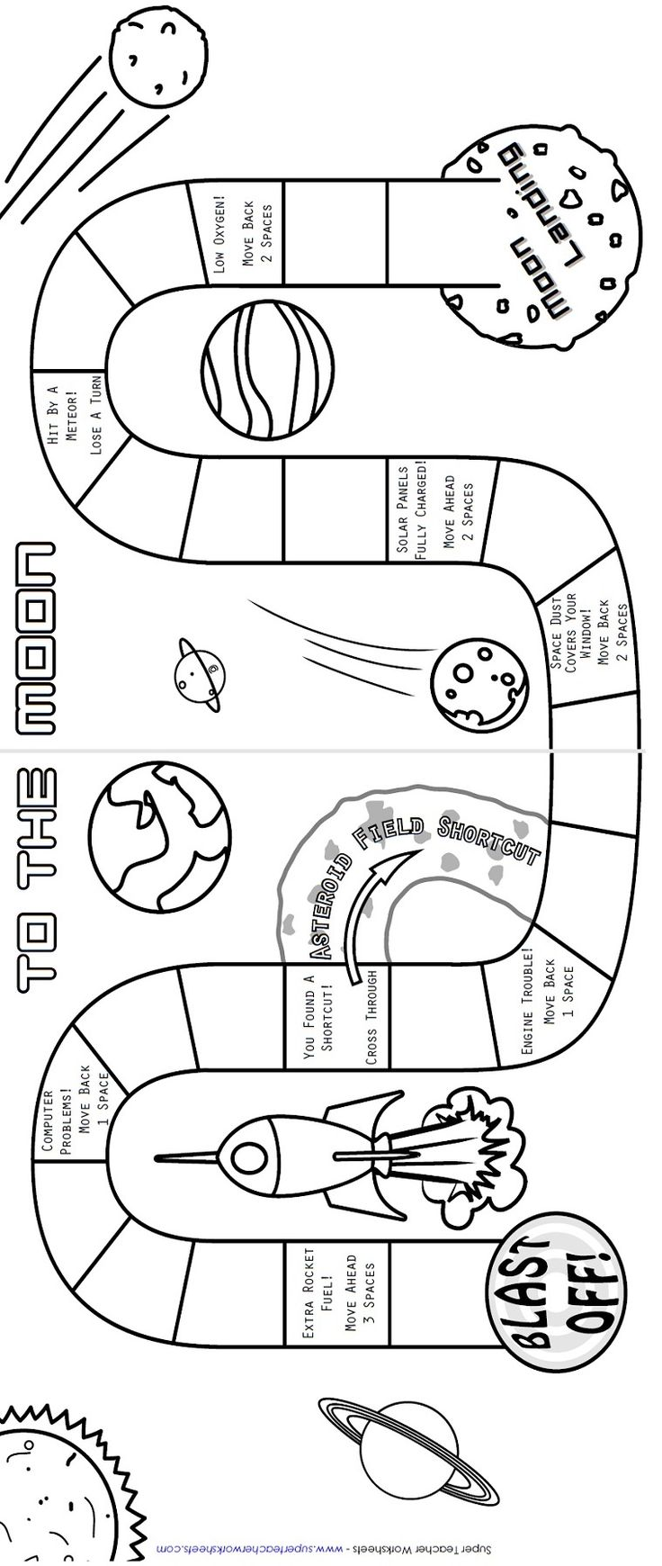 Colouring sheets of the lunar eclipse - Students Will Have A Blast Learning Facts About The Solar System With This Board Game