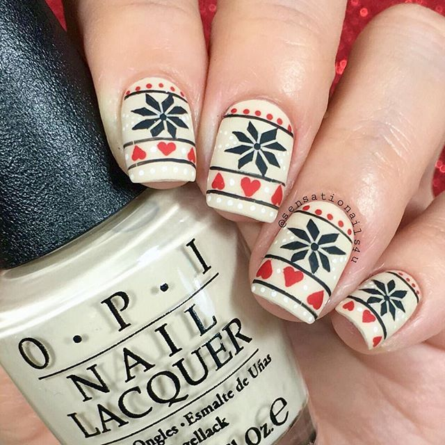 Hand painted Fair Isle  I feel proud of myself cause I did fair isle on my nails.  I love this type of pattern specially on winter leggings or sweaters  What do you guys think?  Polish from @hbbeautybar  @opi_products You're So Vain-illa  @glistenandglow1 Hk Girl Top ✨coat  Details hand painted with black, red and white acrylic paint and brushes from @ebay