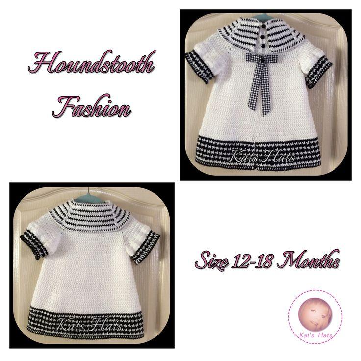 Crochet Houndstooth Design Toddler Dress. Size 12-18 Months http://facebook.com/Kats.hats.1