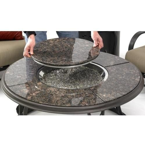 Outdoor GreatRoom Company 42 Inch Chat Propane Fire Pit Table With Granite Top And Lazy Susan