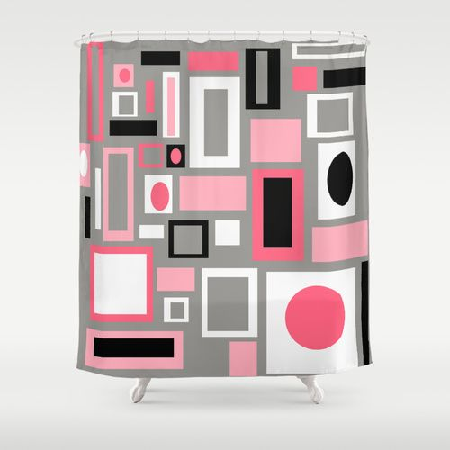 "The fun doesn't have to stop at the bathroom door. Our funky shower curtain will make your bathroom smile. 71"" x 71"". Made of 100% polyester w/ 12 stitched button holes for hanging. rings, liner not included 86."