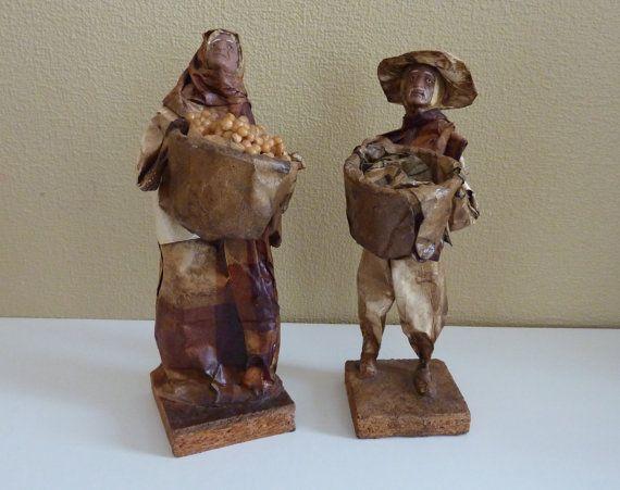 Vintage Pair of Mexican Folk Art Papier Mache Figurines - Ethnic, Peasants Sculptures - Travel Souvenir