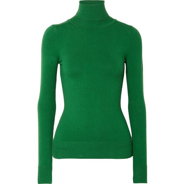 JoosTricot Stretch cotton-blend turtleneck sweater (16 385 UAH) ❤ liked on Polyvore featuring tops, sweaters, forest green, patterned tops, turtle neck top, fitted tops, polo neck sweater and green turtleneck