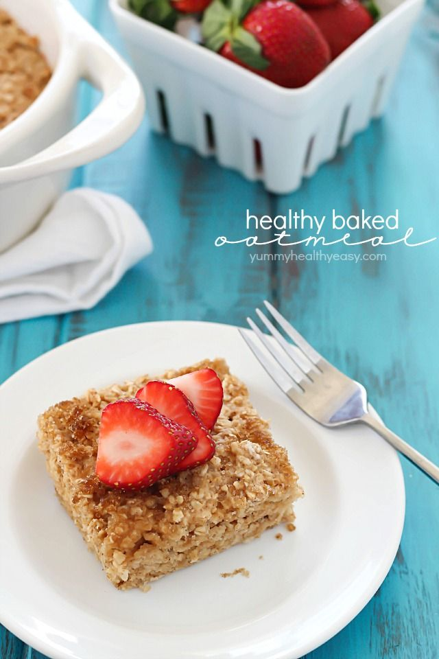 Change up your breakfast and try this Healthy Baked Oatmeal! Flourless, butterless, and full of yummy, healthy ingredients!