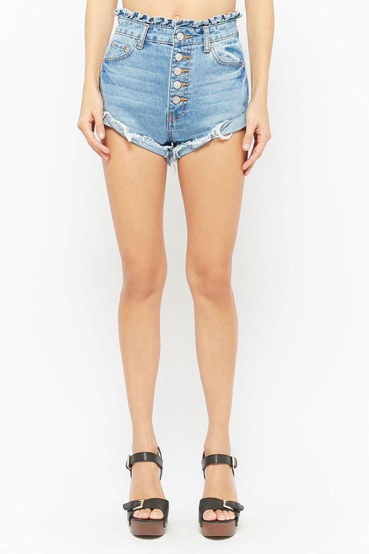 Button-Fly Denim Paperbag Shorts | Forever21