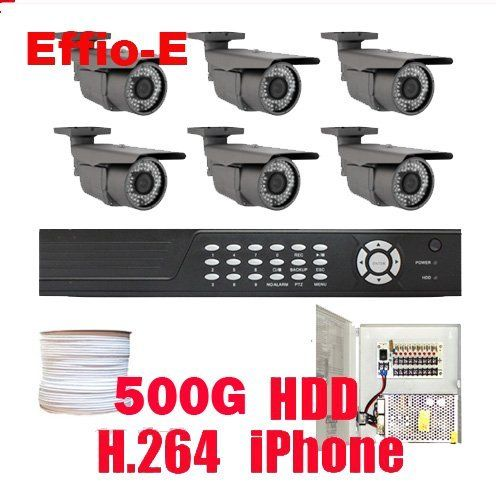"""Complete professional 8 Channel H.264 DVR with 6 x 1/3"""" Exview HAD CCD II, Effio-E DSP Devices Camera. 700 TV lines, 2.8~12mm varifocal lens, 72pcs IR LED, 164 ft IR Distance.(500G Hard Drive) by Gw. $1135.00. Package Includes: GW2548SV DVR with 500G HDD, Remote Control and mouse, DVR User Manual, 6 x GW50WD - 1/3"""" Exview HAD CCD II with Effio-E DSP Devices Camera, 2 x GW125CAW: 125 feet pre-made cable BNC, 2 x GW100CAW: 100 feet pre-made cable BNC, 2 x GW60CAW: 60 feet pre-made ..."""