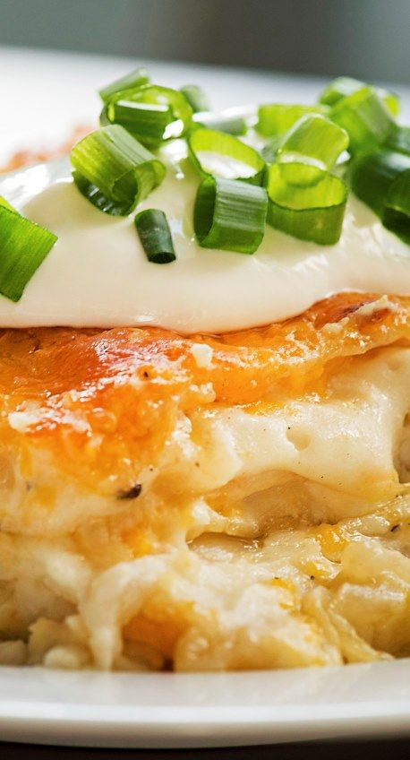 Cheesy Pierogi Lasagna - can use frozen mashed potatoes, see original recipe link: http://jayesel.net/2010/07/recipe-pierogie-casserole/
