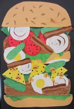 Claes Oldenburg (originally 4th grade lesson) inspired paper food collage.