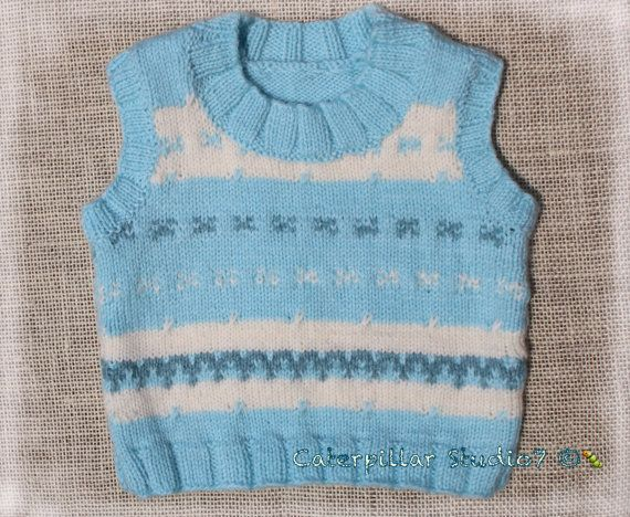 Hand Knitted Baby Boy Vest 69m infant baby by CaterpillarStudio7