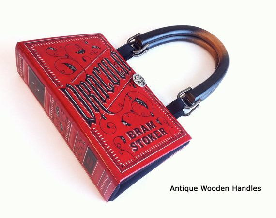 With one of the black handles :)  Dracula Book Purse  Dracula Book Clutch  Bram by NovelCreations, $55.00
