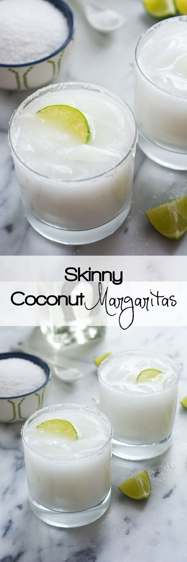 (withsaltandwit.com) A tropical spin on the classic drink! These Skinny Coconut Margarita are made with lite coconut milk, coconut water, tequila blanco and triple sec for a refreshing cocktail!