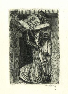Bookplate by Sándor Nagy for Nagy Sándor (A mi könyvünk), 1910c.