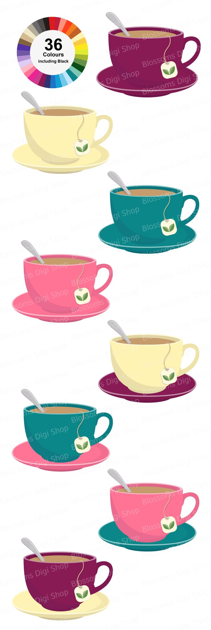 36 Tea Cups and 36 Saucers,  saved separately for mixing and matching. Available to download at Etsy for personal and commercial use.